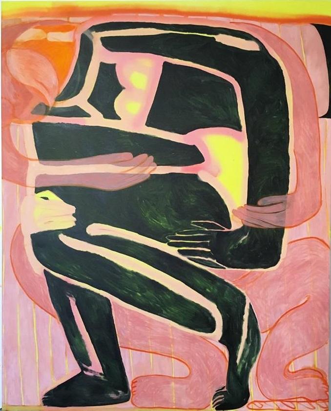 Tahnee Lonsdale, Untitled. Spray e olio su tela. Cm 155x125, 2019