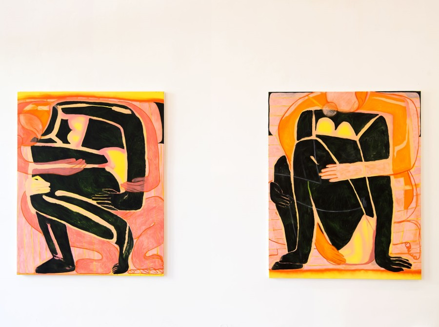 Tahnee Lonsdale, Hold me, Love me. Oil and spray on canvas, cm 120x150 each. Installation view