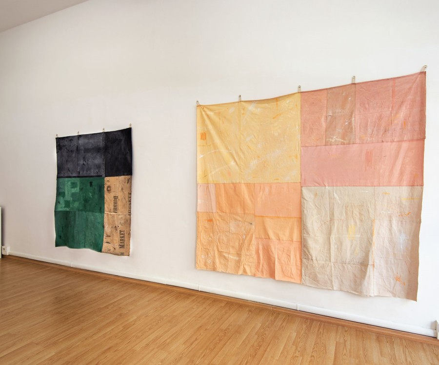 Tess Williams, Territory II, oil acrylic on sewen canvas and vvintage linen, cm 175x197. 'A Hundred Harvests' - Oil & Acrlic on Sewn Canvas 260x230cm. installation view